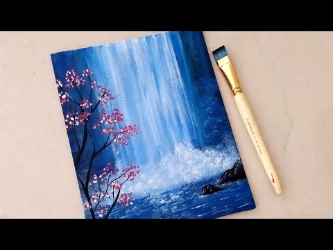 Easy Waterfall Landscape Painting tutorial for beginners || Step by step Waterfall landscape Paintin