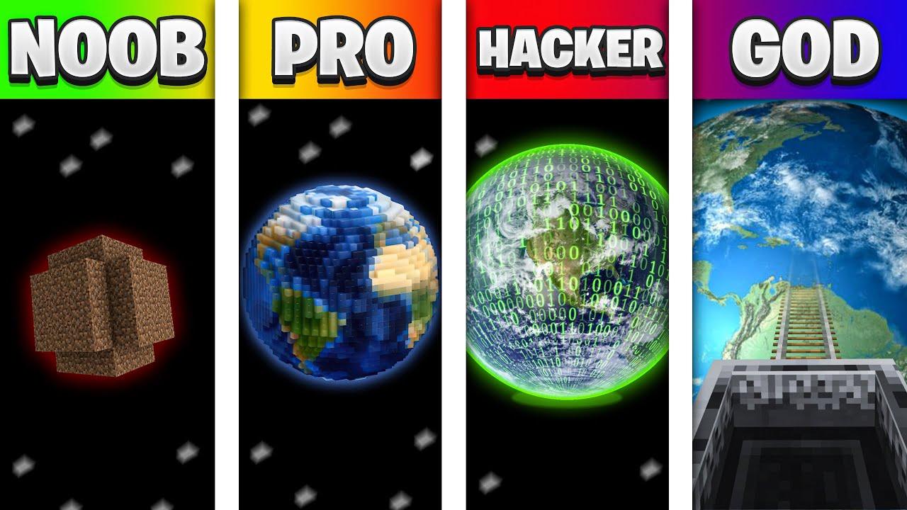 Download NOOB vs PRO vs HACKER vs GOD PLANET BASE in Minecraft