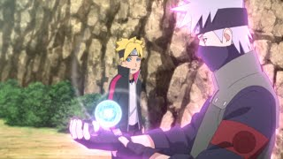 Kakashi teaching Boruto Wind Release: Rasenshuriken, Kakashi says Boruto is Genius Like Minato