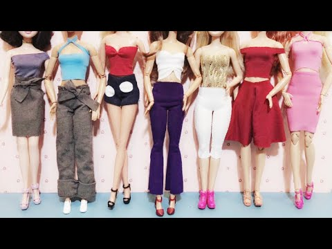 CUTE & EASY DIY 👖👚 How to make Barbie doll clothes | TOP & PANTS & SKIRTS