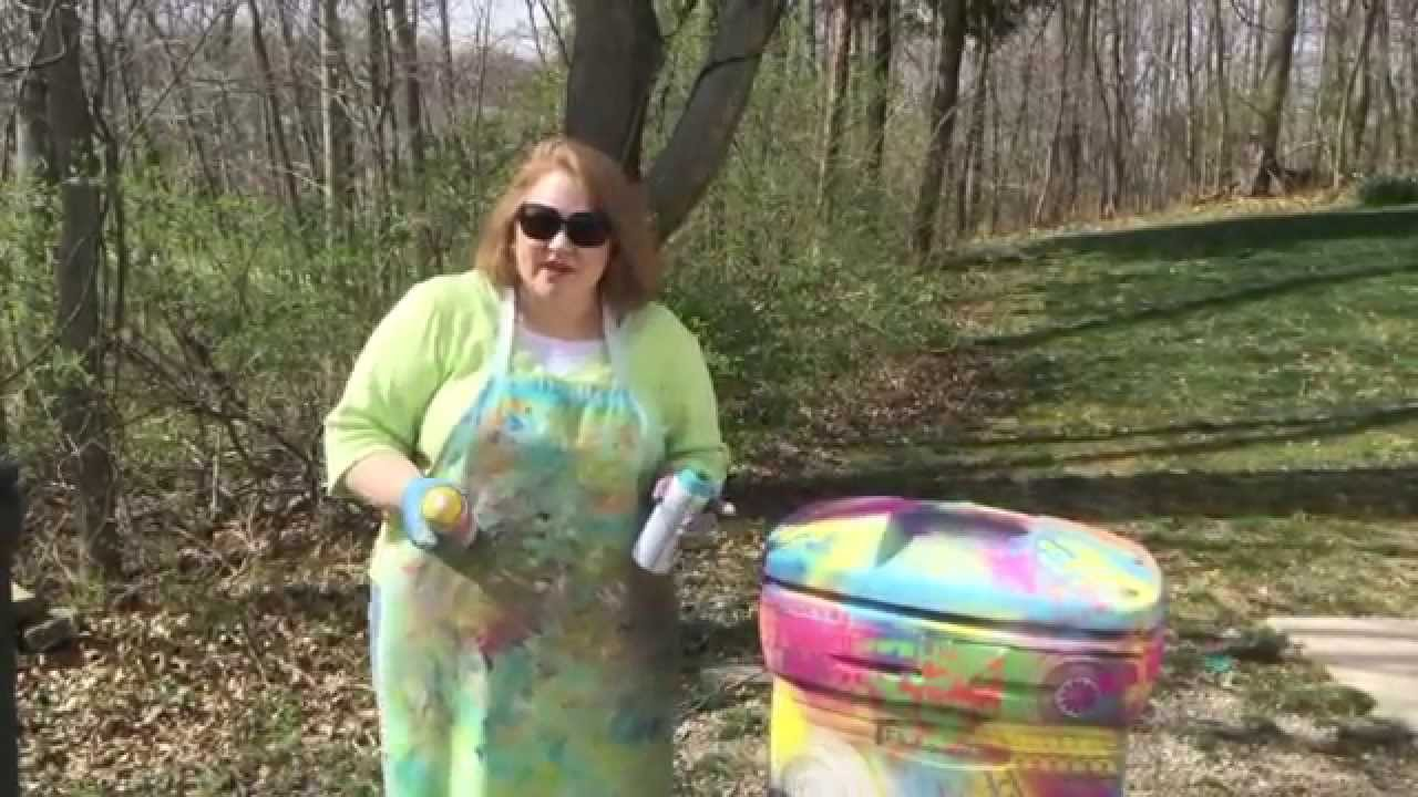 Spray Painting With Stencils On A Trash Can Youtube