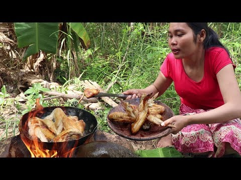 Cooking chicken wings for Lunch food ideas - Survival Skills Cooking and eating food # 77