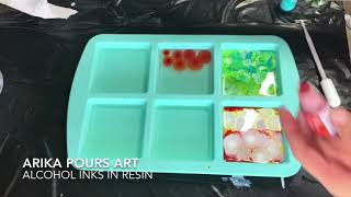 Alcohol Inks in Resin - Square Coasters