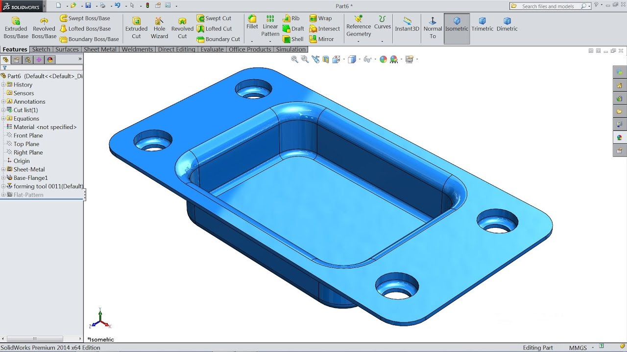 Solidworks Sheet Metal Tutorial Forming Tool Youtube
