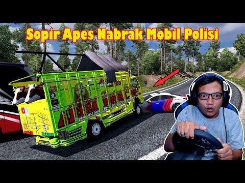 Truk Muatan Sapi Lebaran Nabrak Mobil Polisi! ETS 2 indonesia