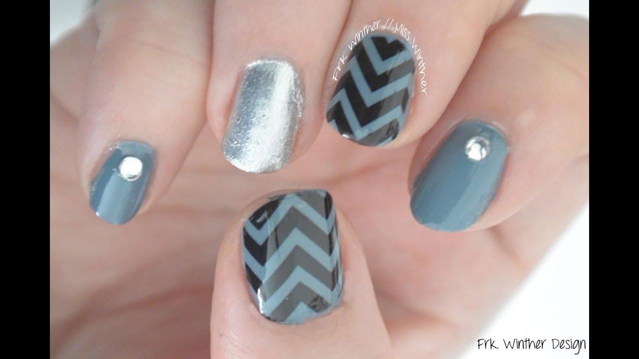 easy chevron nail art design tutorial