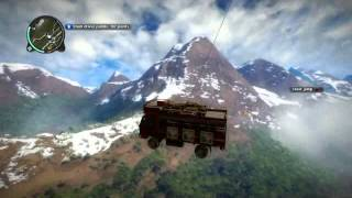 Just Cause 2 truck towing plane and fall to the cliff ps3