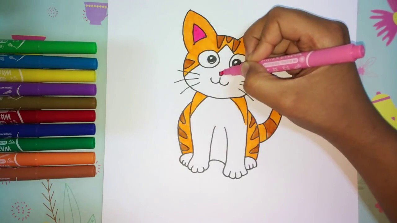 How To Draw Simple Cute Cat Easy For Kids