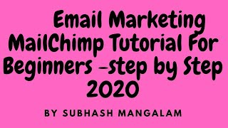 Mailchimp Tutorial for Beginners - Email Marketing Tutorial Step By Step Tutorial 2020