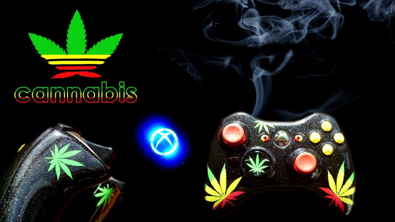 Custom Airbrush Painted Black Sparkle Rasta Cannabis Weed Leaf Xbox Controller YouTube