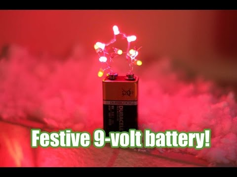 Festive 9-volt battery for your desk!