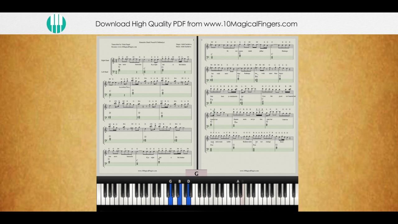 Humsafar badrinath ki dulhaniya piano notations tutorial humsafar badrinath ki dulhaniya piano notations tutorial chords hexwebz Choice Image