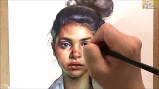 Watercolor Portrait painting demonstration of a woman / 인물수채화, 얼굴그리기