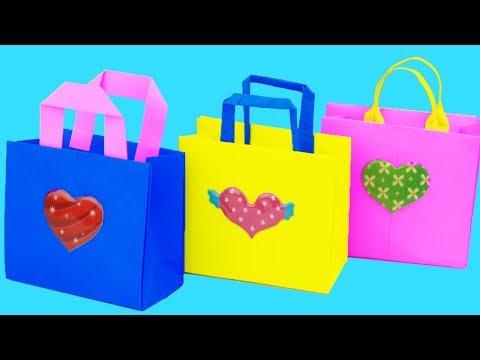 #3DIY: How to Make Bag with Color Paper - How to Make a Paper handbag - Easy Origami Handbag Making