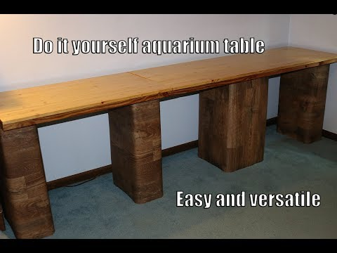 Homemade Aquarium Stand – Cement Blocks, Wooden Boards, Vinyl
