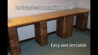 Homemade Aquarium Stand – Cement blocks, wooden boards, vinyl