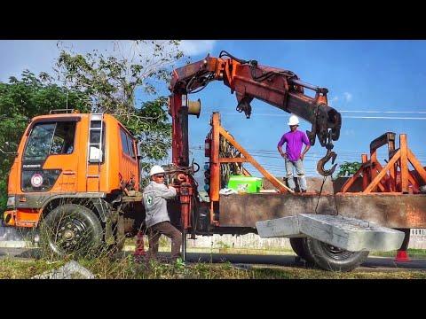 รถเครน | รถบรรทุก | crane truck | truck | รถบรรทุก 6 ล้อ ติดเครน ยกแท่นปูน