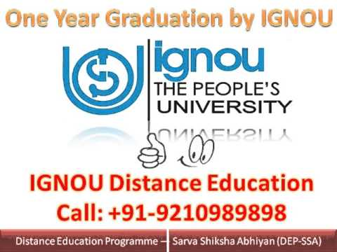 One Year Courses by IGNOU Distance Education BA MBA MCA BBA MA B ED