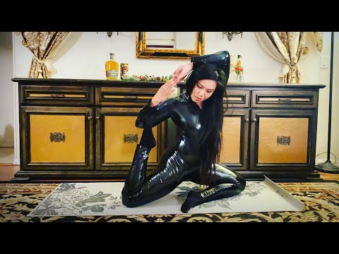 Miss Mara Yoga Stretches in a Shiny Catsuit [non-Latex + Leather Gloves]