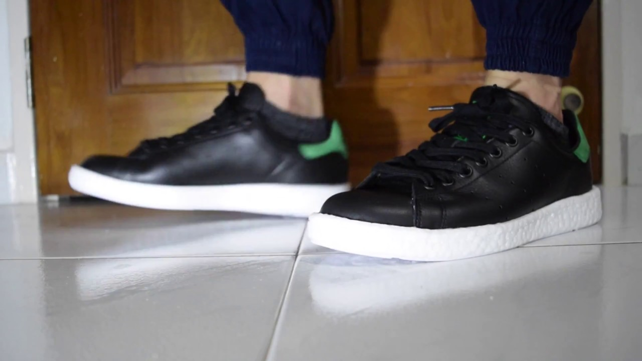 On Feet - Adidas Stan Smith Boost (Black Green White) - YouTube 0b9f6b7670648
