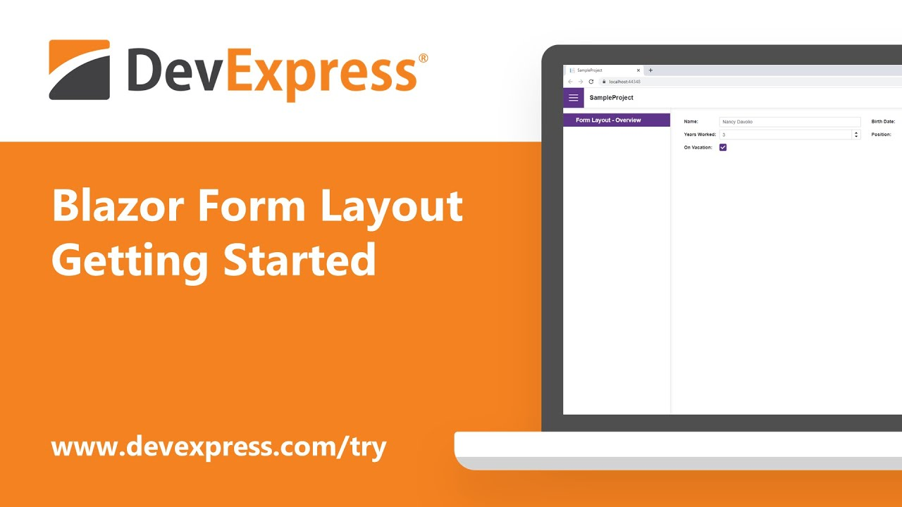 DevExpress Blazor Form Layout: Getting Started