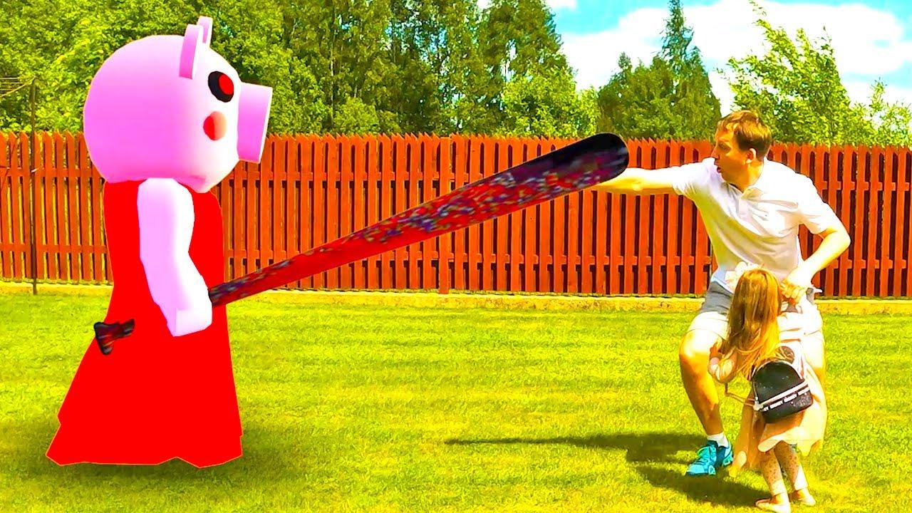 Bridget plays with Ice Scream Rod and Roblox Piggy