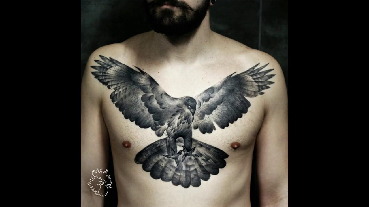 Chest Tattoo Hawk Blackwork 2017