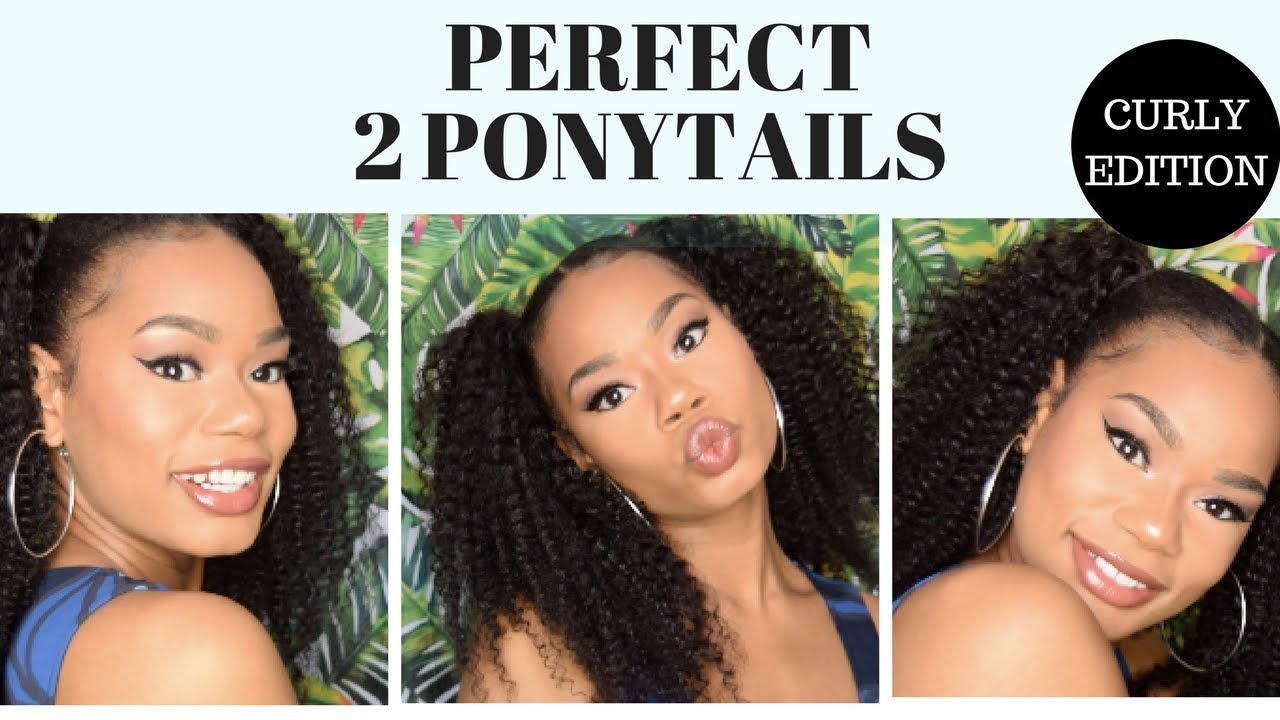 2 PONYTAILS HAIRSTYLE WITH WEAVE USINGCURLY CLIP INS POWER HAIR COLLECTION YouTube