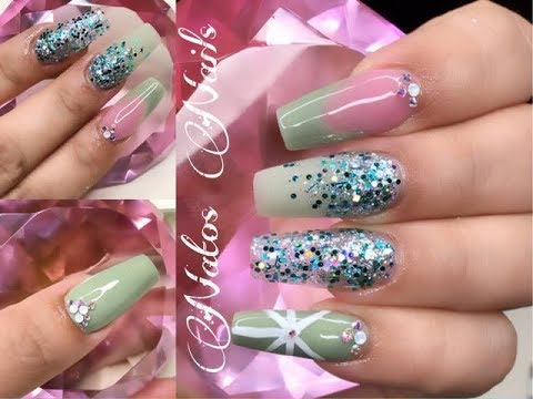 Uñas Acrilicas Diseño En Verde Menta Natos Nails Youtube