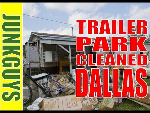 Trash Dumpster rentals placed at a trailer park in Dallas Texas / Dfwjunkguys.com