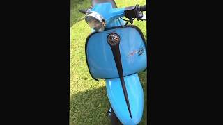Quick vid of my lambretta j50 scooter with a     4 stroke 125 auto conversion and a few custom trick