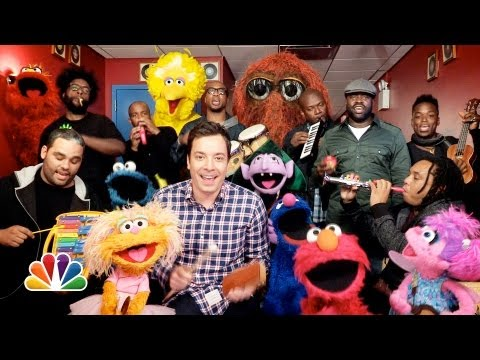 "Thumbnail: Jimmy Fallon, Sesame Street & The Roots Sing ""Sesame Street"" Theme (w/ Classroom Instruments)"