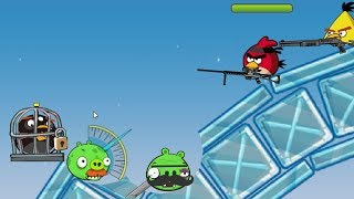 Angry Birds Ultimate Battle - RESCUING BOMBER AND SHOOTING PIGGIES!