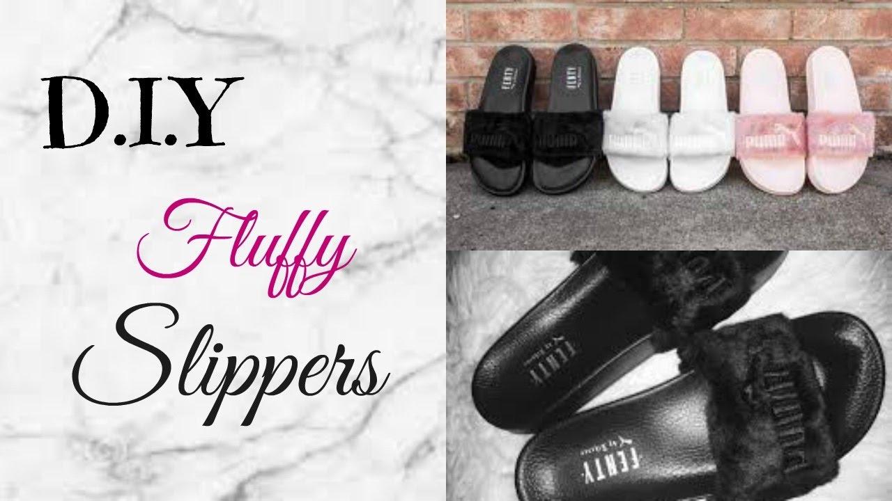 finest selection 5ab87 c3f08 D.I.Y Furry Slippers/Slides l Rihanna Inspired Fenty Slides