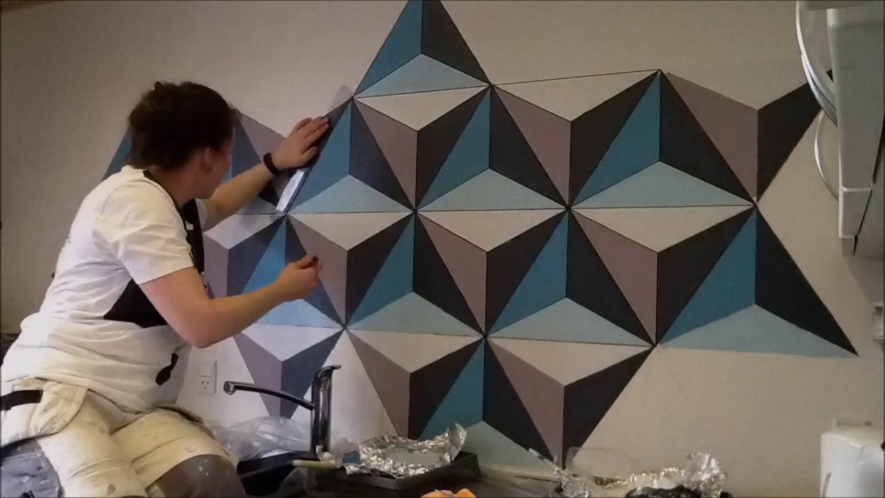 Painting geometric wall remember full hd youtube for Pintura decorativa efeito 3d