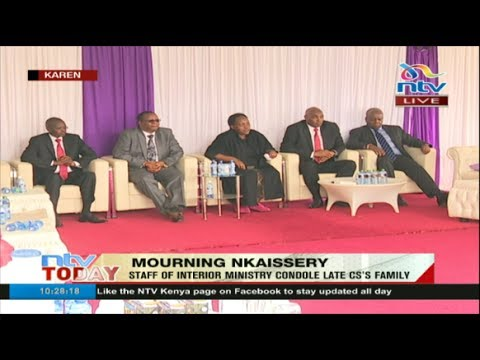 Staff from Interior ministry condole with the late Joseph Nkaissery's family