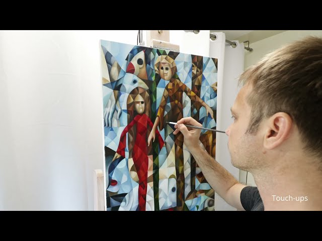 """Making of the cubist painting """"Humankind"""", oil on canvas, surrealism, symbolism"""