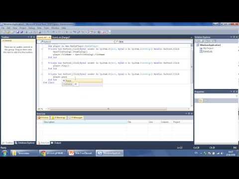 การสร้างโปรแกรมฟังเพลงโดยใช้ OpenFileDialog, MenuStrip, ฯลฯ ใน VB Express 2008-2010