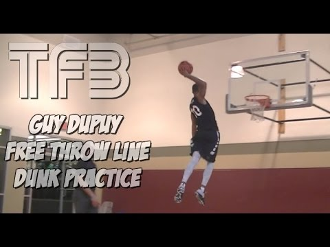 Guy Dupuy practicing his Free Throw Line Distance Dunks.