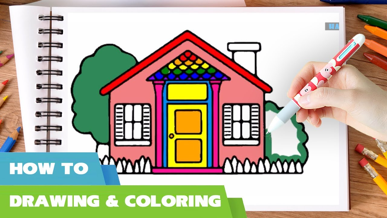 Coloring book real estate - Doll S House Coloring Pages Video 2 I How To Draw Doll House Coloring Book I Coloful House Marker