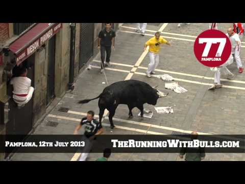 The Running Of The Bulls 12th July  2013 _ Tragic Bull Run