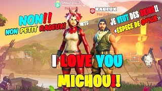 A big fan of michou is trying to take fortnite skins from me, and...