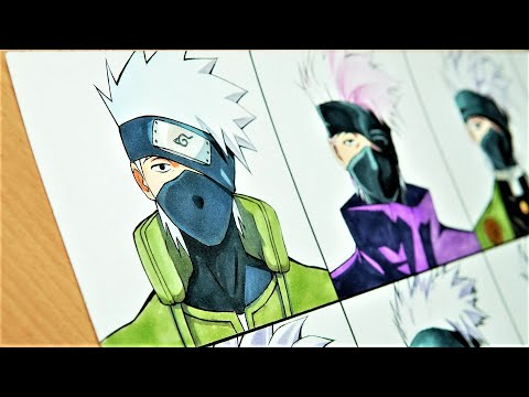 Drawing KAKASHI in 12 different anime styles (ナルト- 疾風伝)
