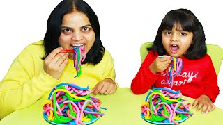 Ashu Pretend Play Making Colorful Play Doh Noodles! Johny Johny Yes Papa