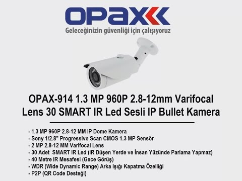 OPAX-914 1.3 MP 960P 2.8-12mm Varifocal Lens 30 SMART IR Led Sesli IP Bullet Kamera
