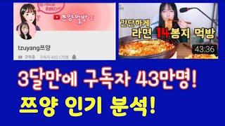대박 유튜버 쯔양, 3달만에 유튜브 구독자 43만명, 쯔양 먹방, 쯔양 돈까스, 라면, 초밥, 대박 유튜브, 치즈볼, 뜨는 유튜버 소개, 쯔양 인기 비결 분석