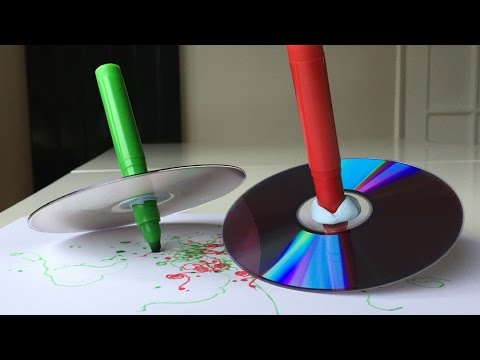 Fun Spinning Top Art Project For Kids With Marker And CD