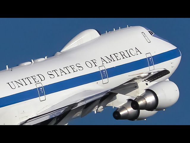 DOOMSDAY PLANE | USAF Boeing E-4B Landings & Takeoff | Sydney Airport Plane Spotting