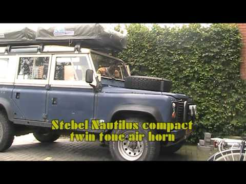 Stebel Nautilus compact twin tone air horn on a Defender 110