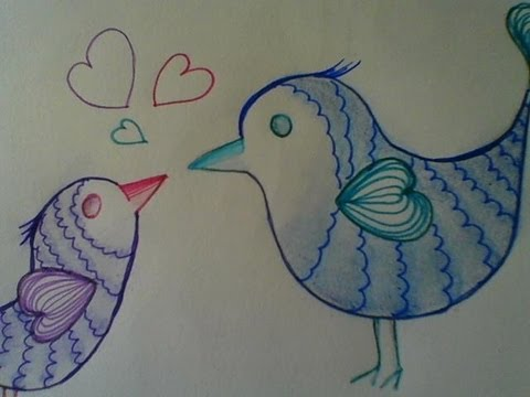Cute And Easy Drawing Love Birds Step By Step Youtube